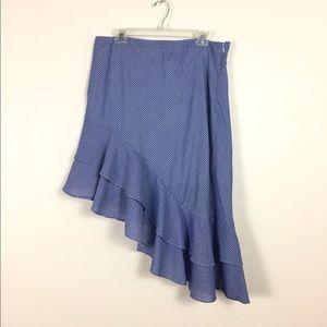 A New Day Blau/white striped layered skirt Sz 16